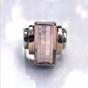 Jewelry - Unique Vintage Sterling Ring 7.5 Champagne Pink